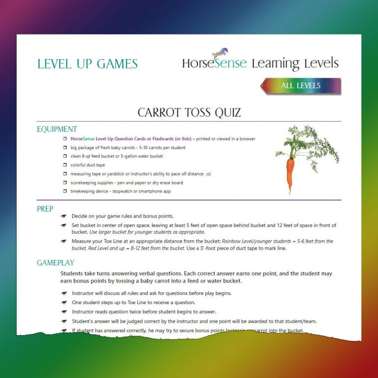 screenshot of printed instructions for carrot toss quiz game