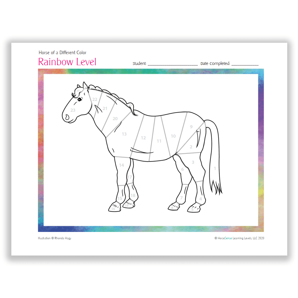 Horse of a Different Color certificate - Rainbow Level coloringpage