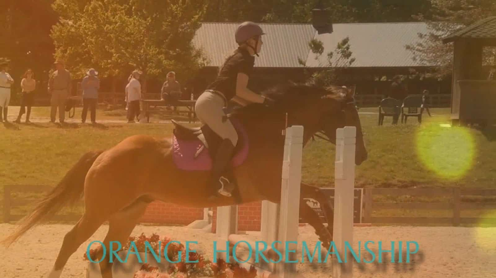 student riding pony over fences at a schooling show