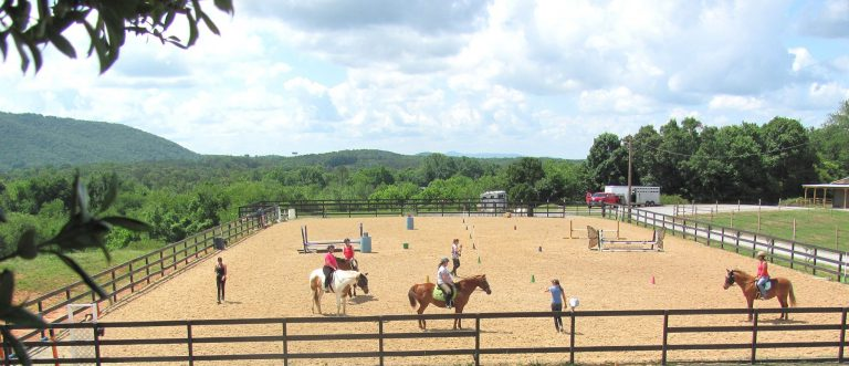 instructor teaching a Boss Mares clinic in the arena