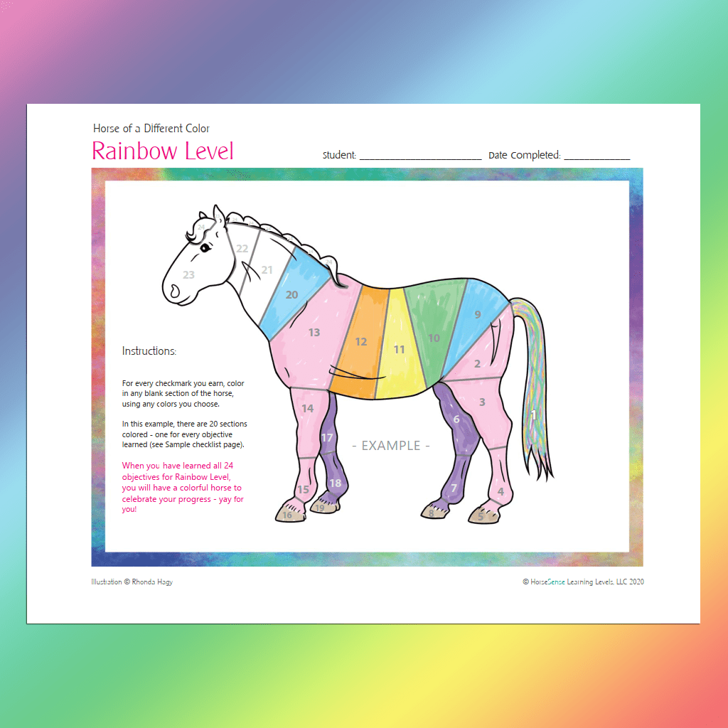 Horse of a Different Color certificate - Rainbow Level example page