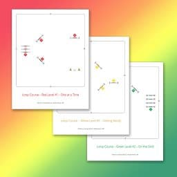 jump course maps for Red, Yellow and Green Levels