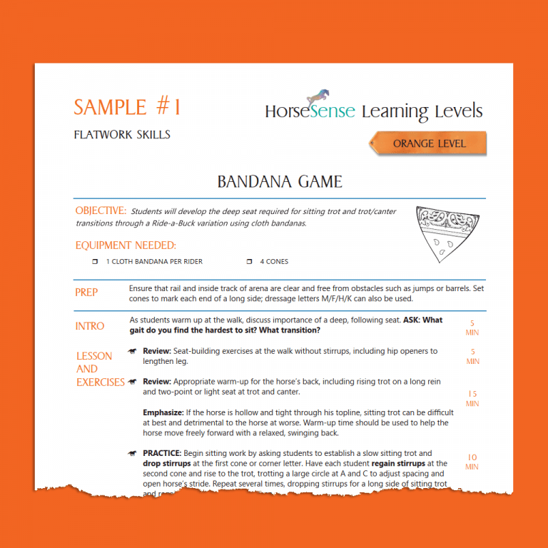 sample page from orange level lesson plans