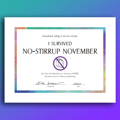 sample signed No-Stirrup Month certificate