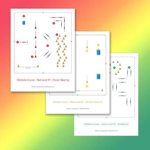 obstacle course maps for Red, Yellow and Green Levels