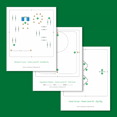 equitation patterns, jump course and obstacle course maps for Green Level