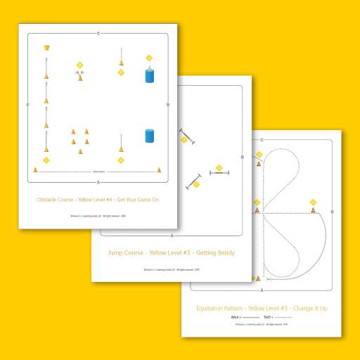 equitation patterns, jump course and obstacle course maps for Yellow Level
