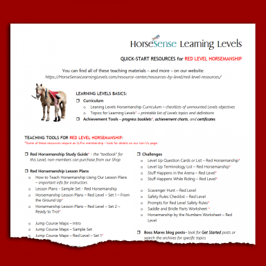 resources list for quick start with Red Level equestrian instruction