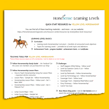 partial resources list for Yellow Level Horsemanship