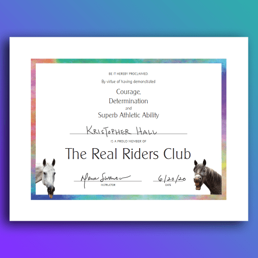 sample certificate for real riders