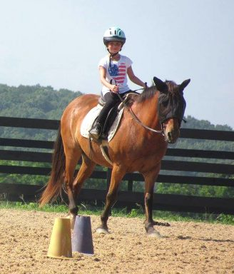 young Red Level student riding lesson pony through equitation patterns