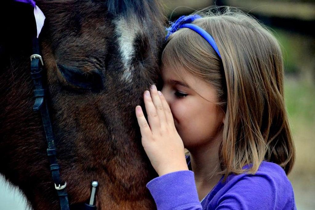 student kissing school pony