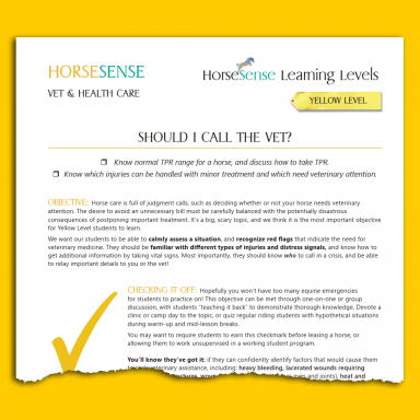 teaching guide page Yellow HS when to call vet
