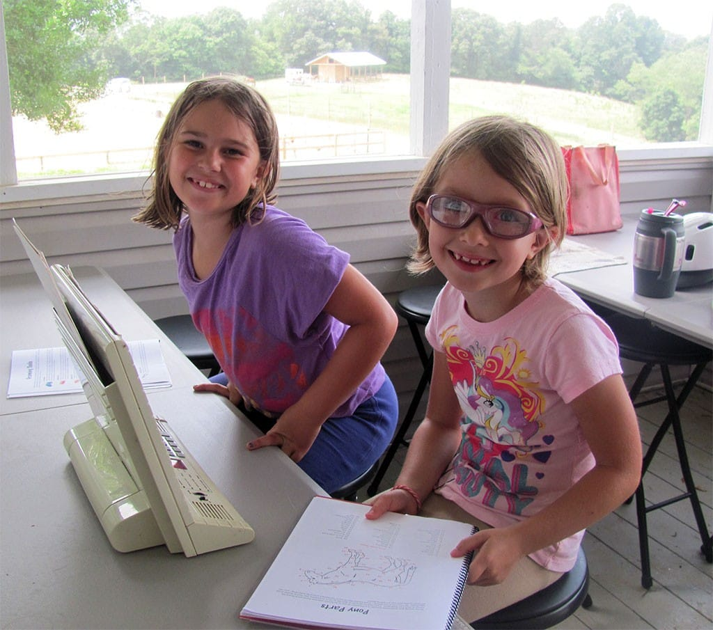 HorseSense students use study guides to learn pony parts.