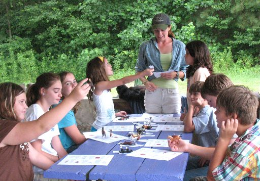 Camp students learn horse colors from study guide handouts