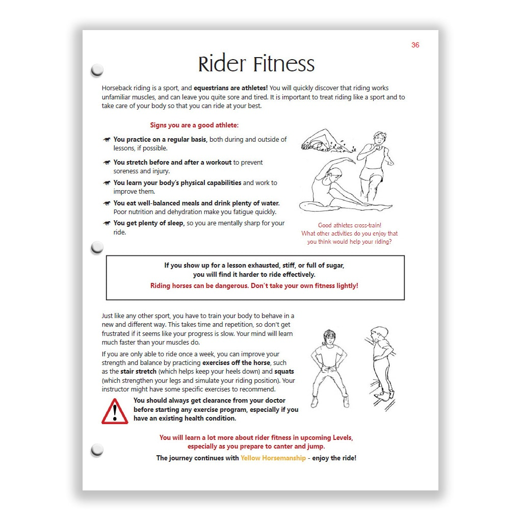 Rider Fitness page from the Red Horsemanship Study Guide introduces cross-training.