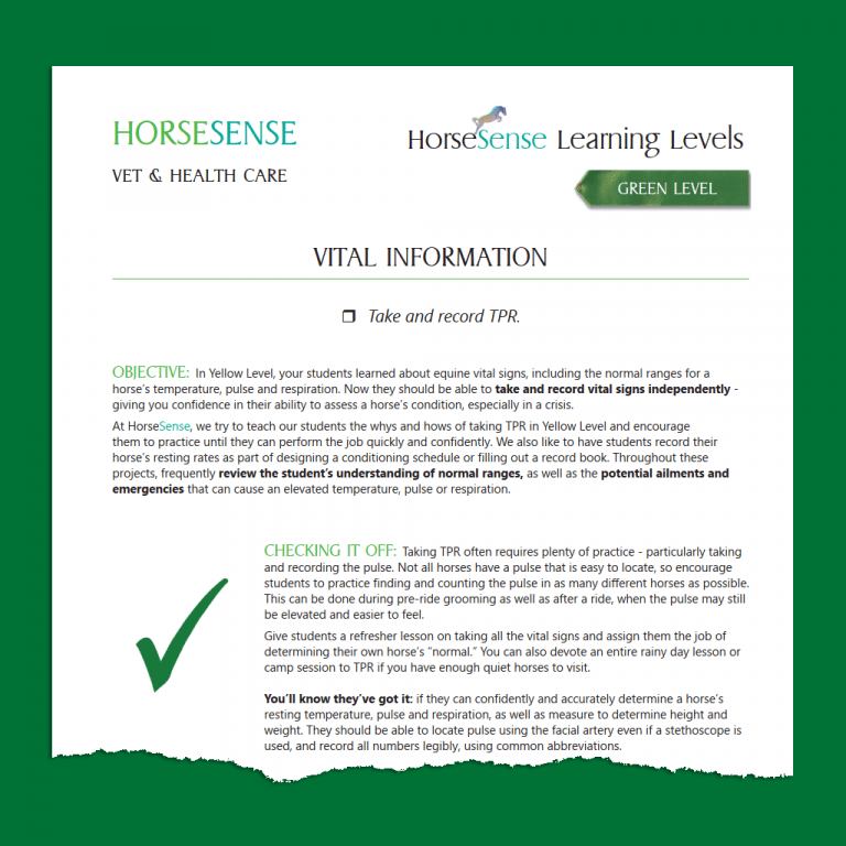 teaching guide page Green HorseSense - vital information