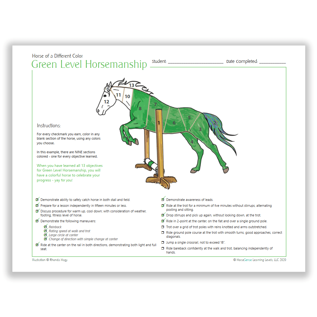 Horse of a Different Color certificate - Green HM - info page