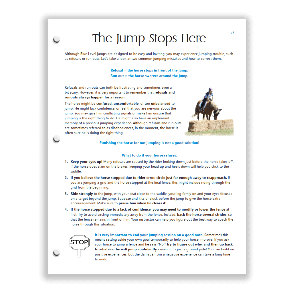 Blue HM Study Guide page - jumping refusals and run outs