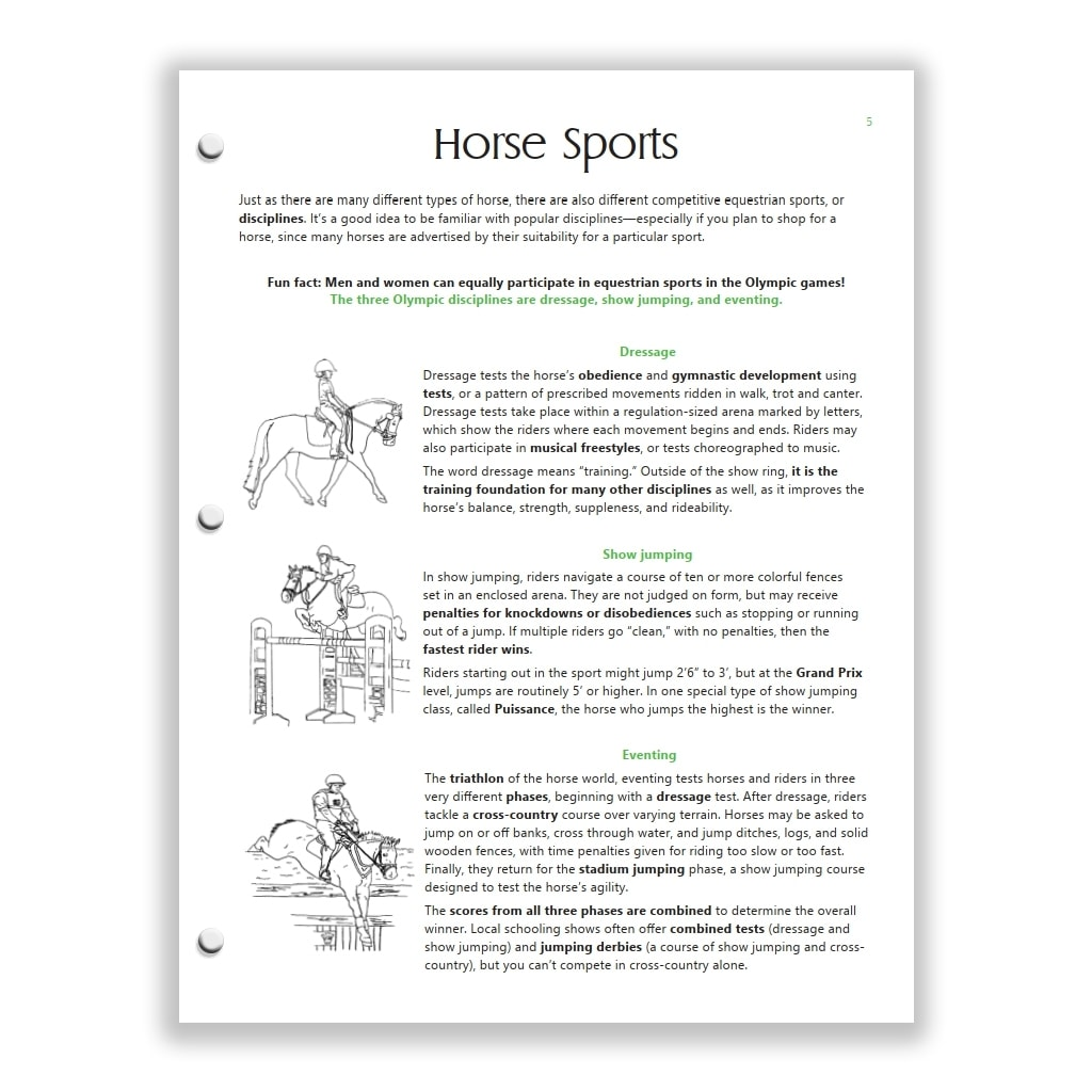 horse sports page from Green HorseSense Study Guide