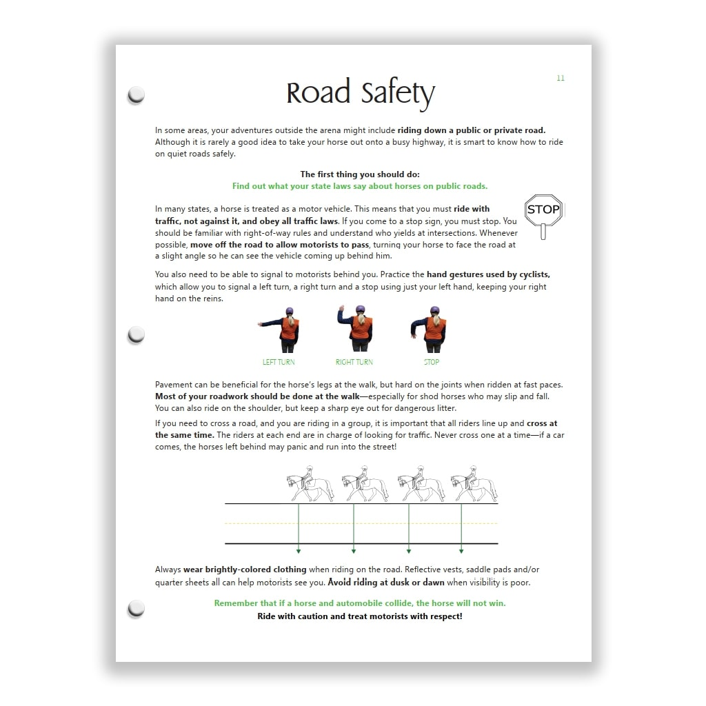 trail safety page from Green HorseSense Study Guide