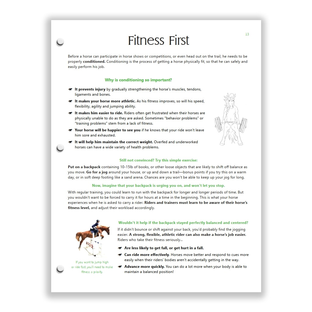 rider conditioning page from Green HorseSense Study Guide