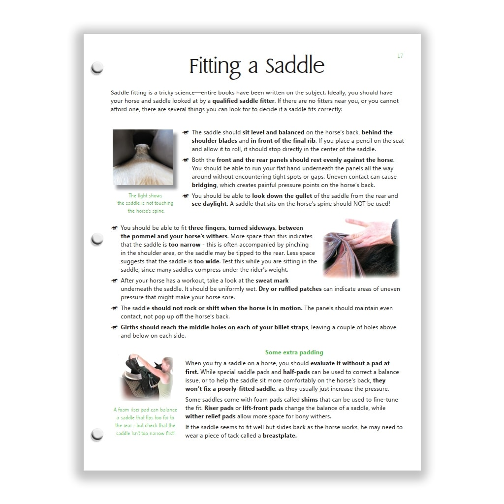 saddle fitting page from Green HorseSense Study Guide