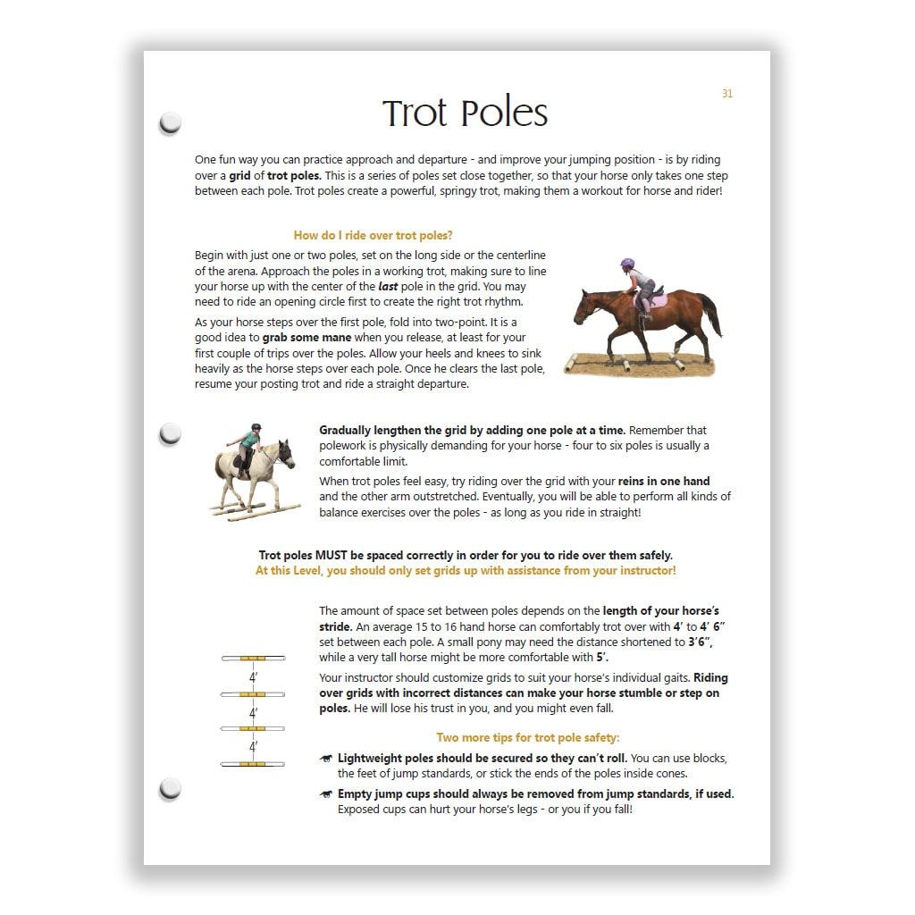 trot poles page from Yellow HM study guide