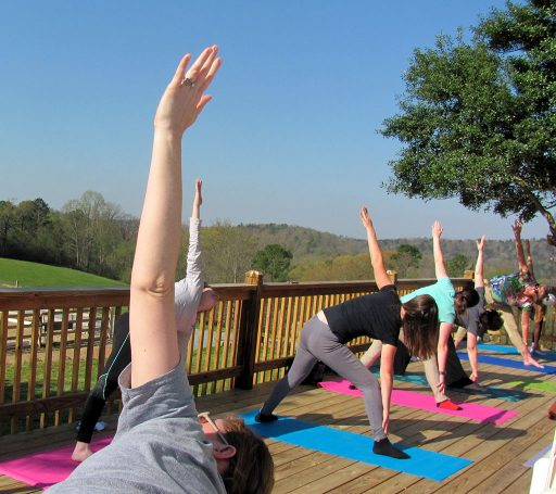HorseSense student fitness clinic includes yoga on the deck